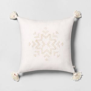 Hearth & Hand Accents - Hearth & Hand Embroidered Snowflake Toss Pillow